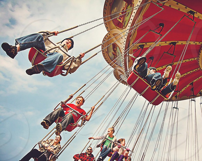 On the swings at Silver Dollar City amusement park photo