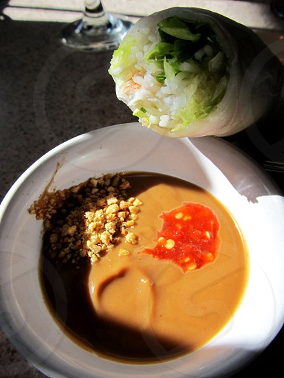 Spring roll and peanut sauce photo