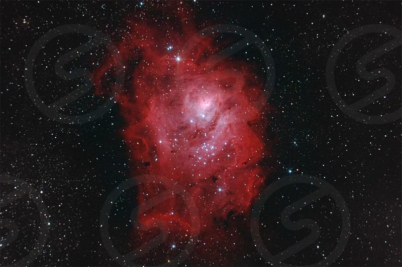 lagoon nebula lagoon nebula ngc 6523 interstellar m8 messier nebulae emission astrophotography stellar amateur universe vivid telescope binoculars galaxy burning space cluster skies glow stars heavens gas colorful star night color red light sky image photo