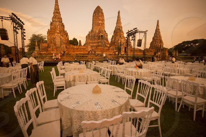 a dinner show at the Wat chai wattanaram in the city of Ayutthaya north of bangkok in Thailand in southeastasia. photo