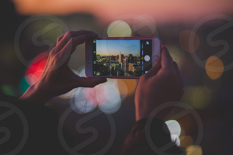 point of view phone city lights city night bokeh cityscape nightscape Johannesburg South Africa photo