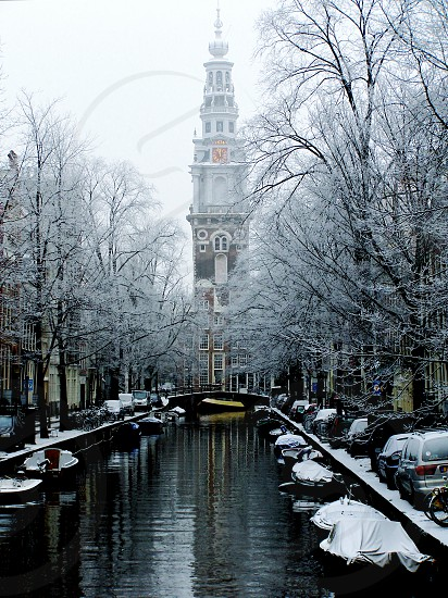 Canal Scene in Winter Amsterdam photo