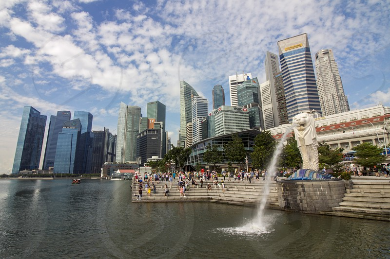 beautiful Singapore skyline and cityscape with the symbolic merlion sculpture as foreground photo