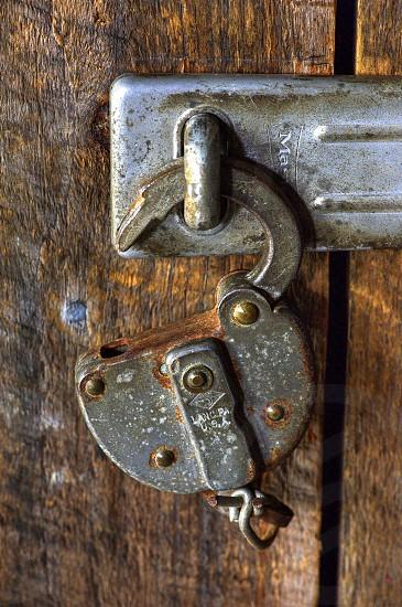 Lock on Wood Door photo