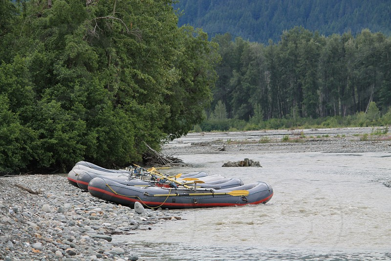 Rafts ready for a trip down the Chilkat River Alaska photo