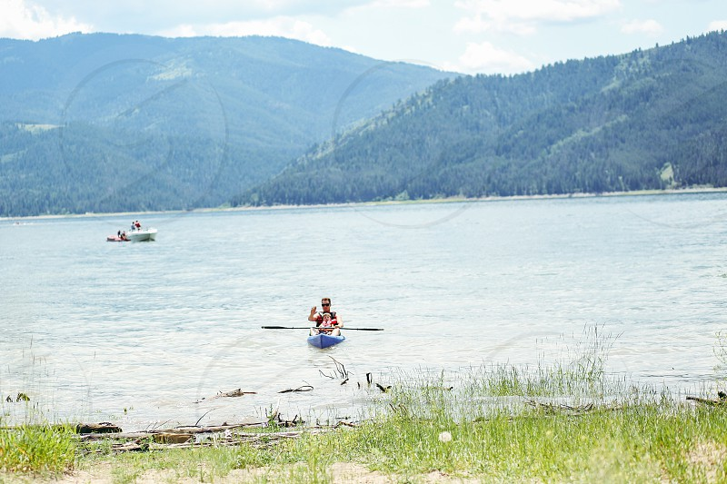 Palisades Reservoir Idaho summer kayaking lake mountain wilderness  photo