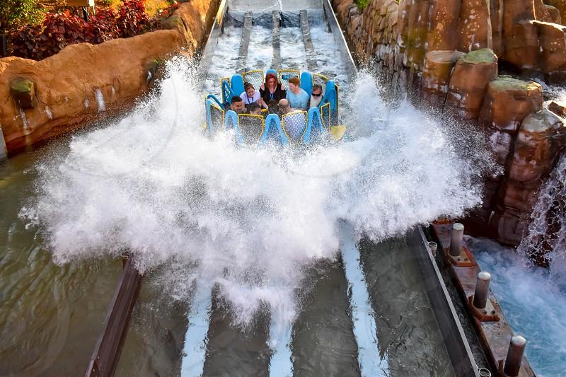 Orlando Florida. January 20 2019 People having fun river attraction ride Infinity Falls at Seaworld Marine Theme Park (2) photo