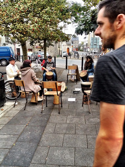 Drum circle in Galway Ireland! People free to join to simply show their true natural rhythm or even to meet new people  photo