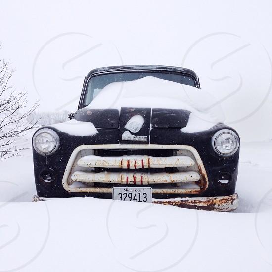 classic car in snow photo