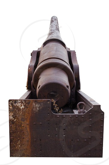 Historical Cannon On White Background photo