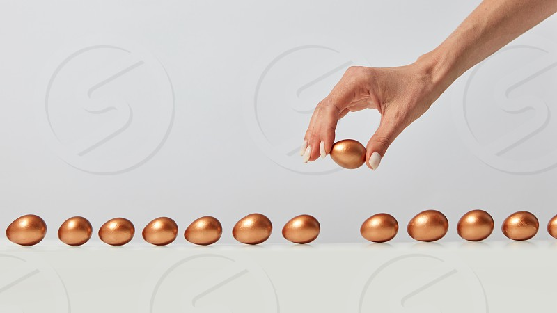 Woman's hand laying out a row of golden painted eggs on a gray background with copy space. The concept of wealth and profits photo
