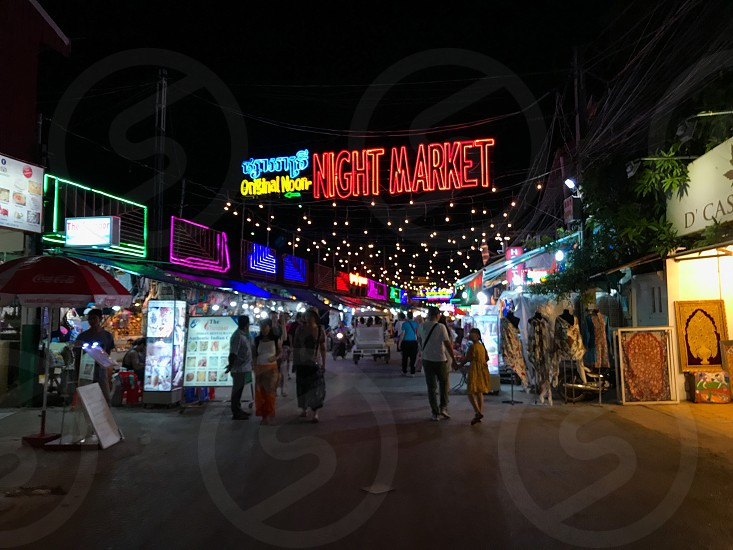 Outdoor night colour landscape horizontal Night Market Seam Reap Cambodia lights string lights fairy lights illumination glow colourful lighting stalls travel travelling tourism tourist wanderlust summer  photo