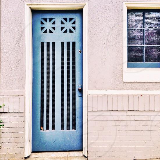 blue painted wooden door photo