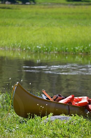 Green grass water canoe lifejackets River lake pond nature outdoors adventure wanderlust  photo