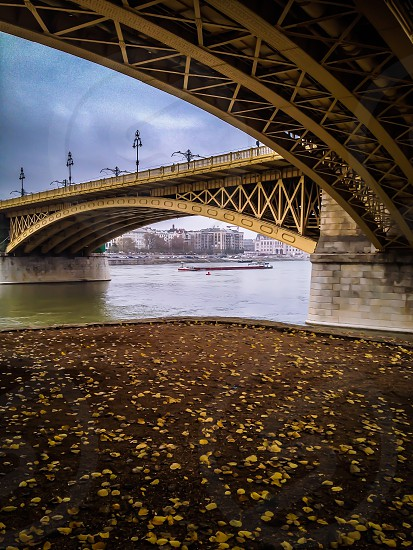 Bridge Danubi Danubi river Donau Budapest Margaretha Island park water Autumn fall Leafs Boats Boat bridges river Romantic lovely Construction design  photo