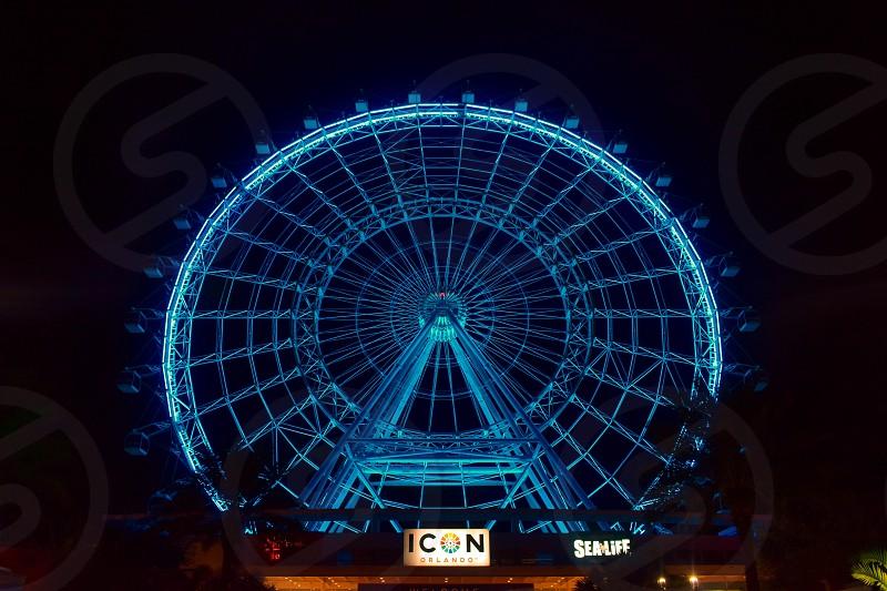 Orlando Florida. January 19  2019 . Illuminated and colorful big wheel in International Drive area  (5) photo