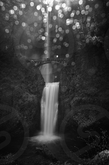 Drops refracting off filter - Multnomah Falls Oregon photo