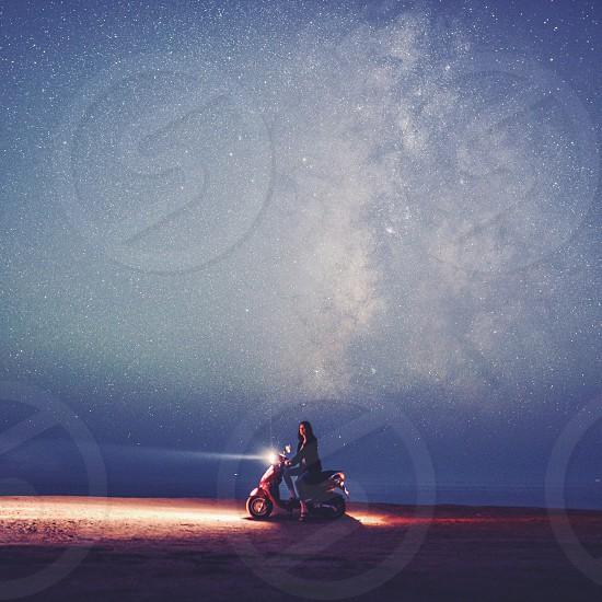 scooter astro night stars motorcycle light milky way adventure photo