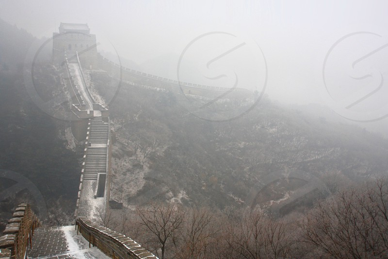 The Great Wall of China at Badaling.  Located about 50 miles (80 kilometers) northwest of downtown Beijing.  It was built during the Ming Dynasty. photo