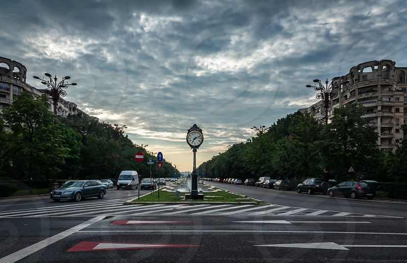 BUCHAREST ROMANIA - 07.20.2018. Clock Bucharest 1459 on Union Boulevard in Romania in a summer morning photo