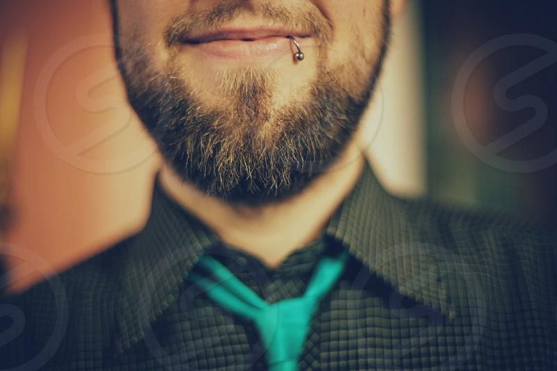 VSCO H5 preset guy tie shirt smile lip pierce beard unshaven photo