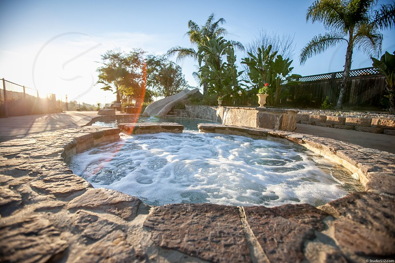 A relaxing backyard party pool area with palm trees pavers landscape hot tub water slide. photo