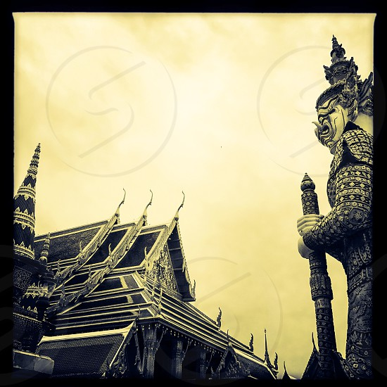 Outdoor day horizontal landscape square black and white monochrome The Grand Palace Bangkok Thailand Kingdom Asia Asian east eastern Far East imperial guard king monarch royal regal attraction monument shrine temple travel wanderlust tourism tourist photo