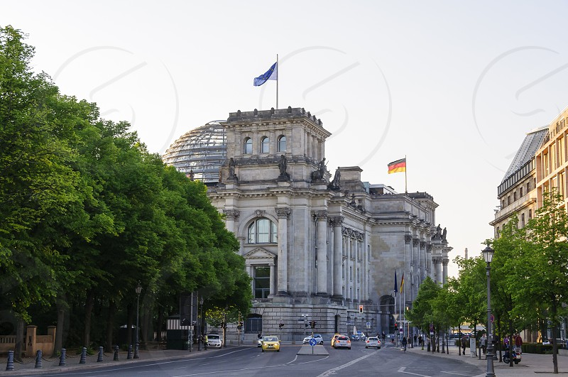 Berlin Germany a slightly different view from the side on the Reichstag and Brandenburger gate photo