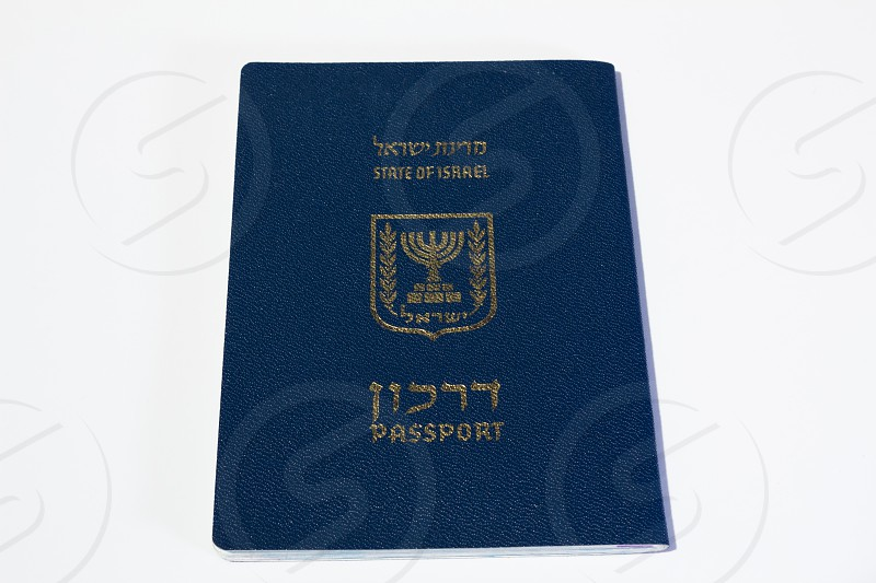 Israeli passport on white background - Top View. photo