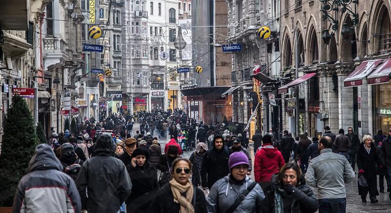 Pedestrians in Taksim Istanbul photo
