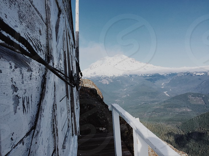 Lookout tower mountain rainier building old watchtower photo