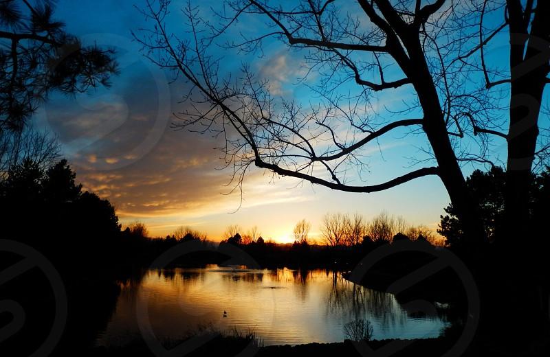 Shenandoah lake at sunset . photo