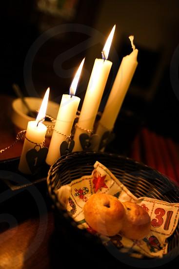 Swedish tradition Advent Christmas lights saffron-bread 'Lussekatt' countdown Sunday's photo