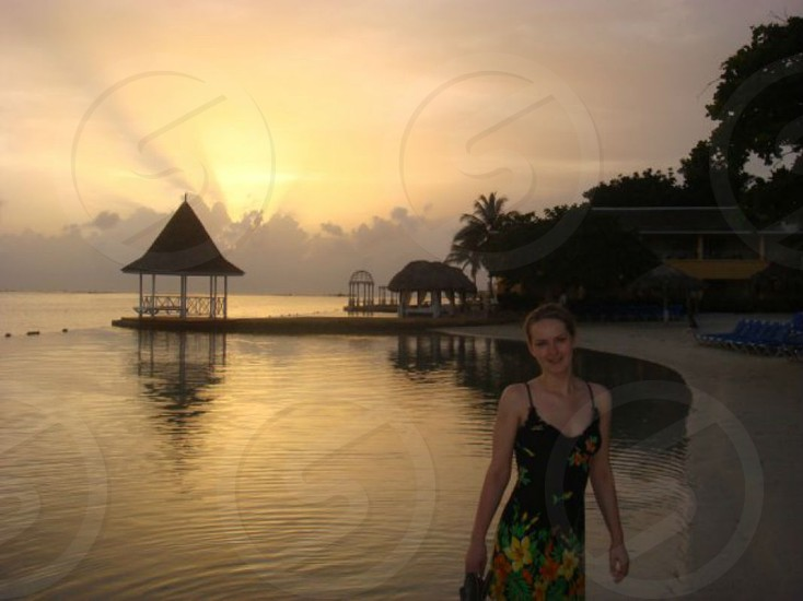 Its me in Jamaica sunrise at 5 am in morning sea beach   photo