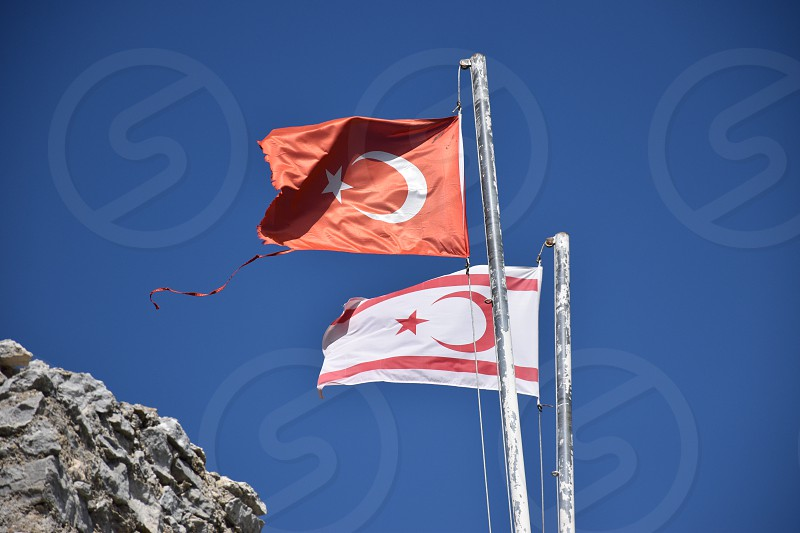 Flags of Turkey and Northern Cyprus photo