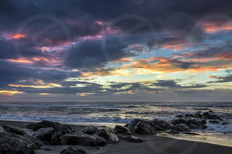 Sunset at Hokitika beach photo