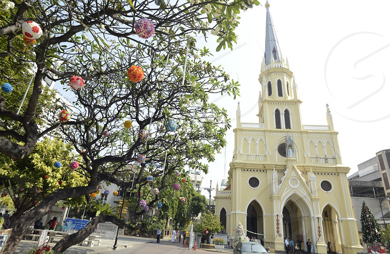 the assumption cathedral on christmas in the cityquater of Bangrak at the Mae Nam Chao Phraya River in the city of Bangkok in Thailand in Southeastasia. photo
