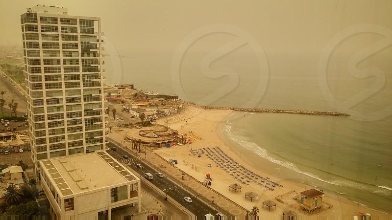Tel Aviv city during the haze of sand on August 9 2015 photo