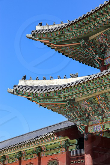 fine details of roof line of traditional Korean architectures photo