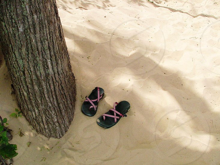 sandals in the sand in the shade under a tree photo
