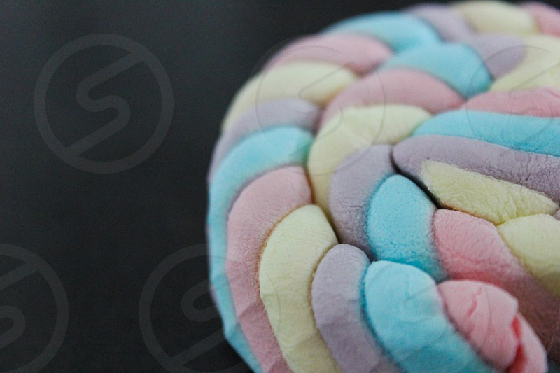 red teal and purple spiral and rolled marshmallow photo