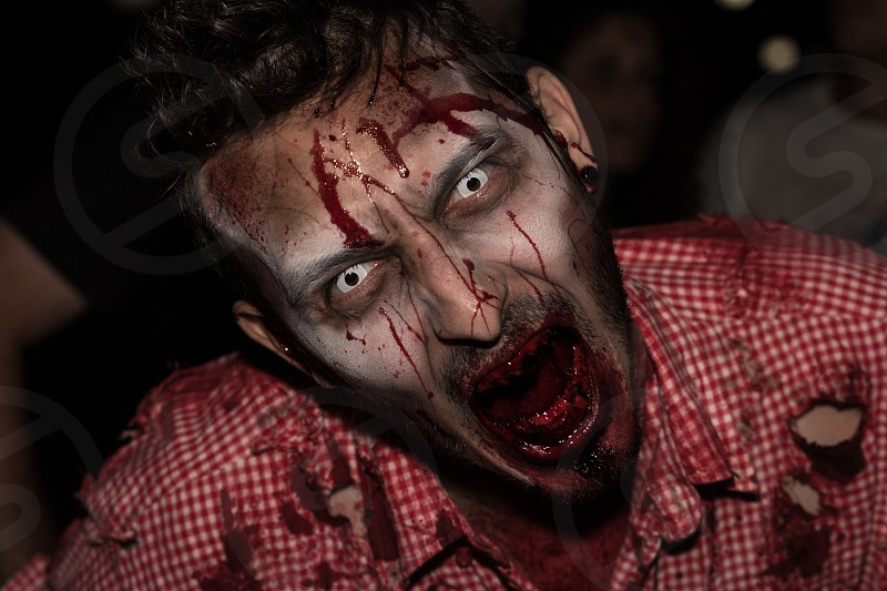 man wearing a torn blood stained red and white plaid button up shirt with zombie makeup photo