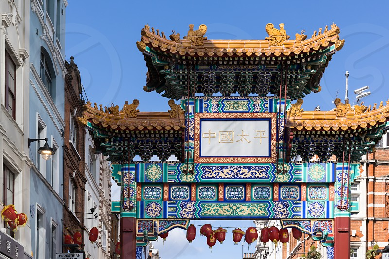 LONDON UK - MARCH 11 : View of Chinatown in Soho London on March 11 2019 photo