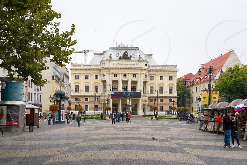 Scenery in front of Slovak National Theatre in Bratislava Slovakia photo