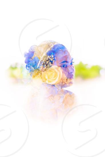 Double Exposure Bridal Portrait Color Colorful Artistic Flowers  photo