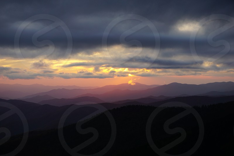 great smokie mountains North Carolina Clingmans Dome Sunset Daytrip Mountains Clouds Smoky  Mountains photo