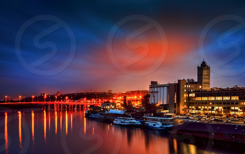 Kiev Ukraine outdoor downtown river sunset photo