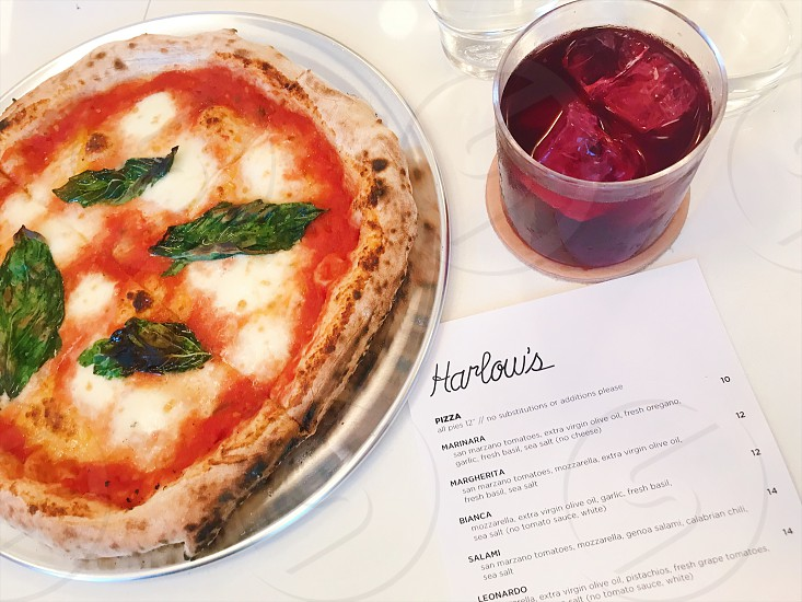 napolean pizza and vino tinto  photo