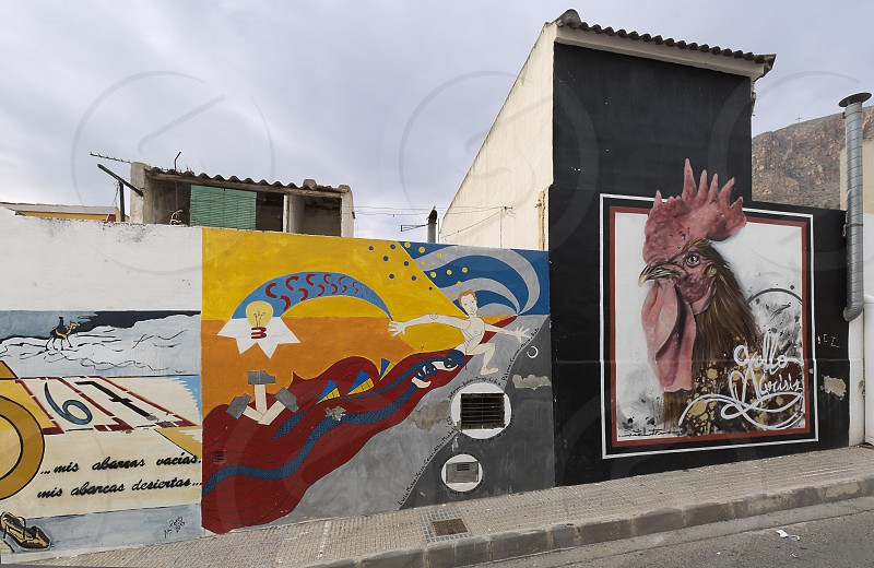 Orihuela Spain. February 26 2018: Murals of San Isidro in Homage to Miguel Hernandez in the city of Orihuela province of Alicante Spain. photo