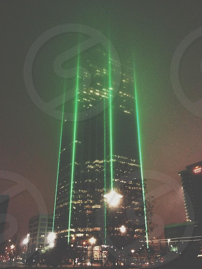 green LED lighted building photo